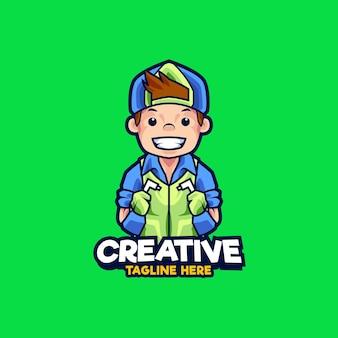 Kantoor schoonmaak assistent mascotte logo ontwerp illustratie