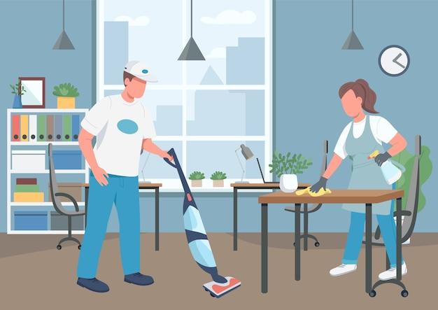 Kantoor schoonmaken huis egale kleur. conciërges 2d stripfiguren met zakelijke werkplek op de achtergrond. schoonmaakbedrijf, conciërge. hygiëne op de werkplek