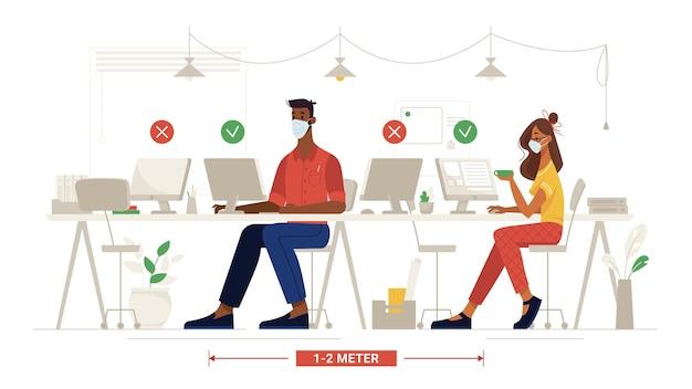 Kantoor sociale afstand mensen met maskers op het werk veiligheidsregels op de werkplek vector platte collega's zitten