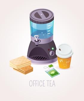 Kantoor thee illustratie