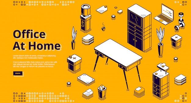 Kantoor thuis, isometrische bestemmingspagina op de werkplek