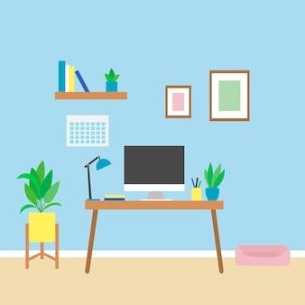 Kantoor thuis tijdens quarantaine, een gezellige werkplek met een computer. afstandsonderwijs in uw appartement