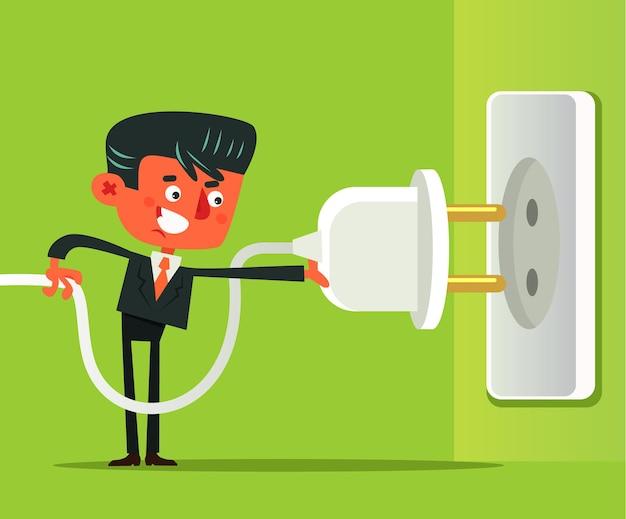 Kantoor werknemer man zakenman aansluiten en loskoppelen van elektrische kabel stopcontact