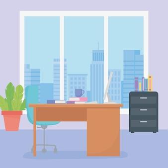 Kantoor werkplek bureaustoel koffiekopje laptop kast met boeken en raam.