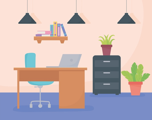 Kantoor werkplek bureaustoel laptop kast plank boeken lampen en potplanten.