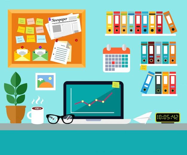 Kantoor werkplek ontwerpconcept