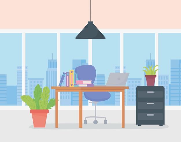 Kantoor werkplek ramen stadszicht bureaustoel kast laptop en potplanten.