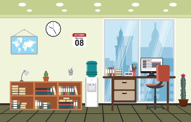 Kantoor werkplek werkruimte tafel bureau binnenkant kamer