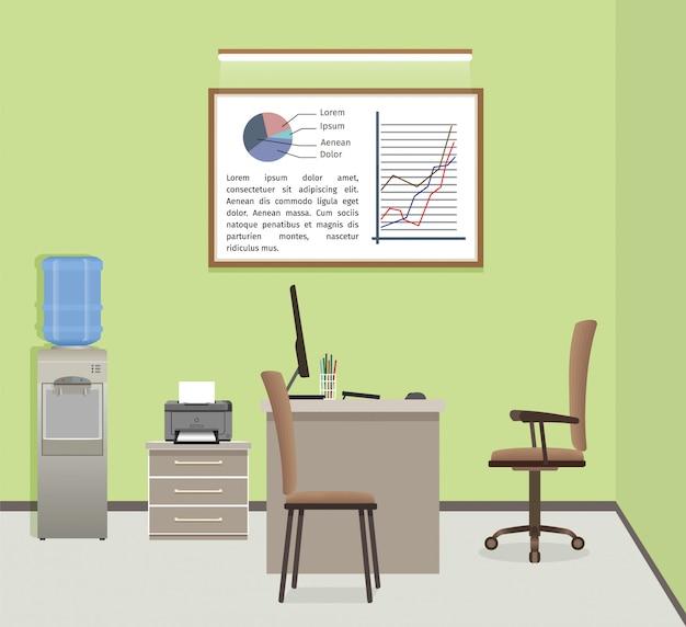 Kantoor werkruimte organisatie. zakelijk interieur met meubels en raam.