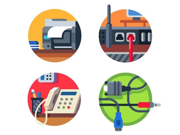 Kantoorapparatuur ingesteld. printer en router, telefoon of kabel. illustratie