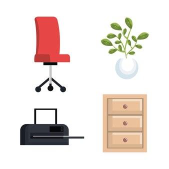 Kantoorapparatuur instellen iconen vector illustratie ontwerp
