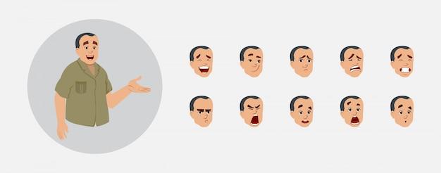 Kantoorassistent karakter met verschillende gezichtsemoties en lip sync. teken voor aangepaste animatie.