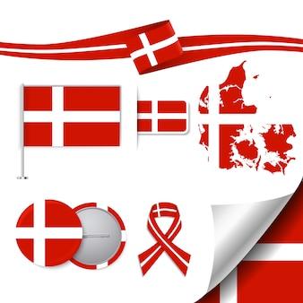 Kantoorbehoeften elementen collectie met de vlag van denemarken ontwerp