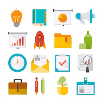 Kantoorbenodigdheden en bedrijfsconcept pictogrammen