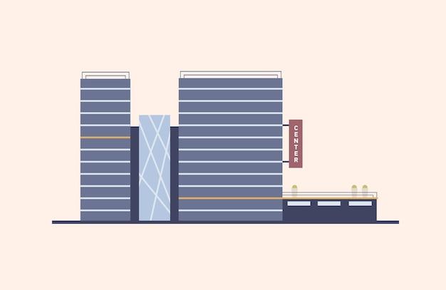 Kantoorcentrum met glazen gevel gebouwd in moderne bouwstijl