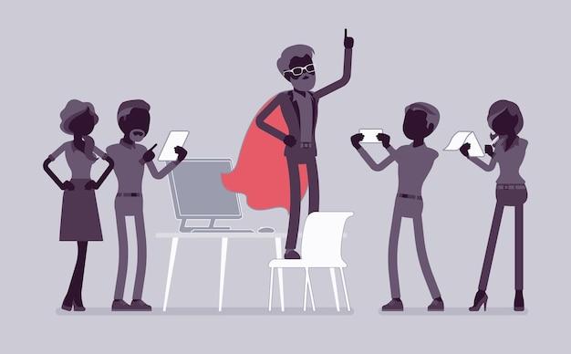 Kantoorheld bewonderd door collega's vanwege moed, uitstekende zakelijke prestaties, verkoop, marktmacht, manager in superheldenmantel. vector vlakke stijl en lijntekeningen cartoon afbeelding, zwart silhouet