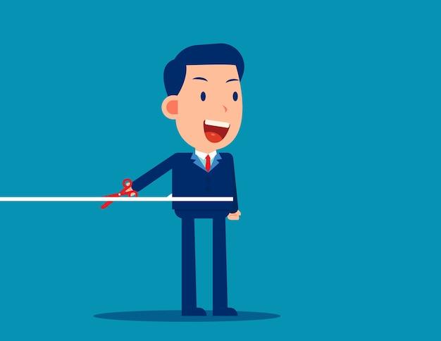 Kantoormedewerker die het touw doorsnijdt, leer de verbinding te verbreken