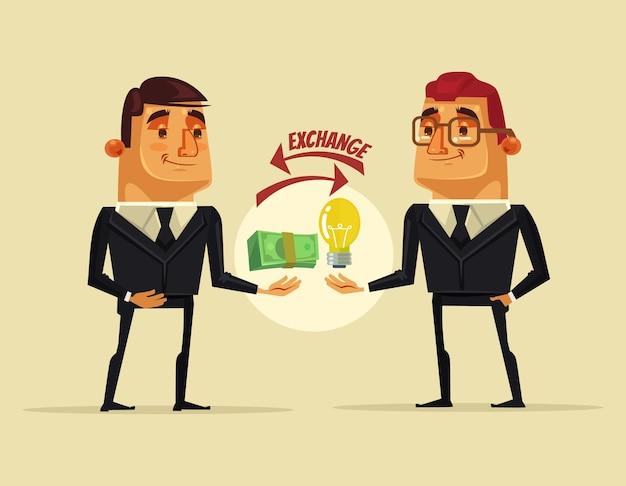 Kantoormedewerker man karakter verkoopt het idee voor geld aan zakenman. platte cartoon afbeelding