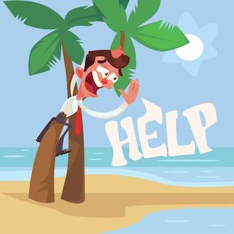 Kantoormedewerker man karakter verloren op onbewoond eiland tussen haai.