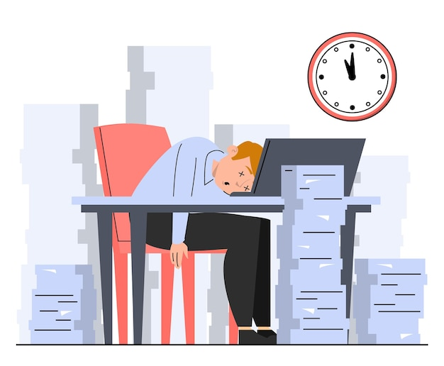 Kantoormedewerker slaapt op bureau rond stapels papier