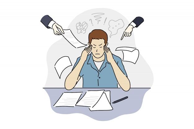 Kantoormedewerker stress, hoofdpijn, teleurstelling of schaamte door veel werk ontwerp illustratie