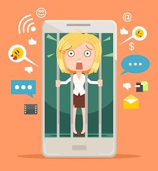 Kantoormedewerker vrouw karakter gegijzeld van moderne technologieën.