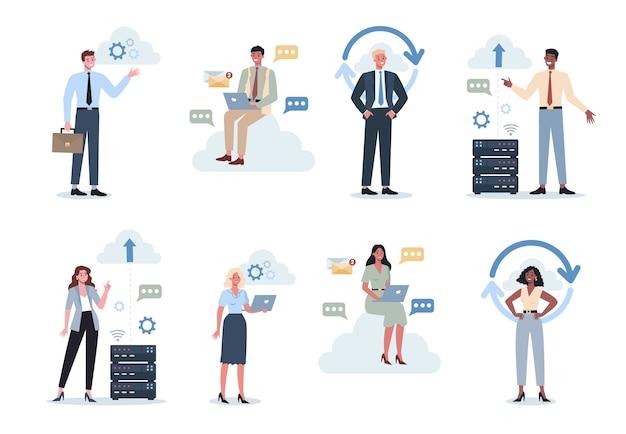 Kantoormensen en de cloudtechnologie. gegevensinformatie-uitwisseling, cloud-technologie concept. idee van moderne digitale technologie en informatiebescherming.