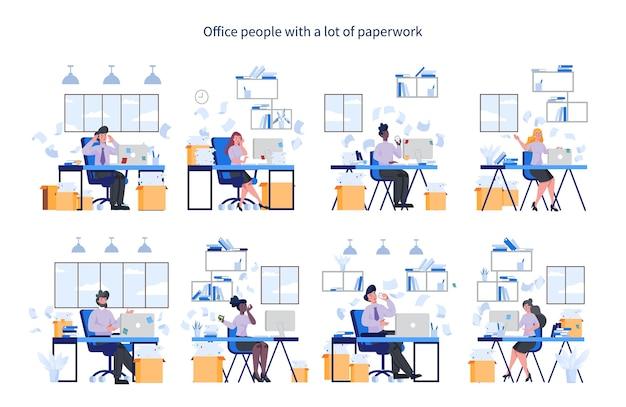 Kantoormensen met veel papierwerk. deadline en druk leven. idee van veel werk en weinig tijd. werknemer benadrukt in kantoor. zakelijke problemen.