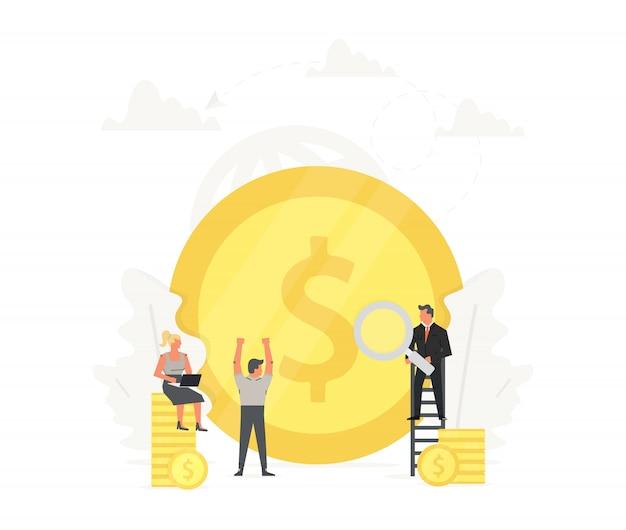 Kantoormensen staan op geld, ruimen op en bouwen de gouden munt.