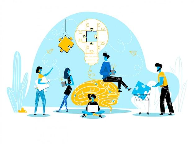 Kantoormensen werken samen opstellingsgrote gloeilamp gescheiden op puzzelstukken ondernemers in coworking plaatsen groepswerk, zoeken nieuw idee voor zakelijk project