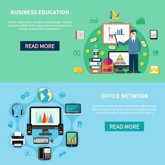 Kantoornetwerk en banners voor bedrijfseducatie