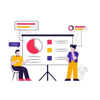 Kantoorpersoneel bespreken en analyseren zaken