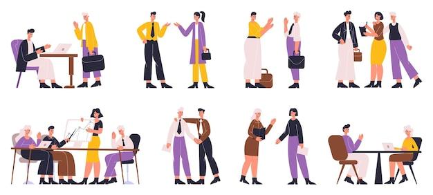 Kantoorpersoneel communiceren, onderhandelen en het sluiten van zakelijke deal. zakelijke talk, formele onderhandelingen vector illustratie set. professionele zakelijke communicatie