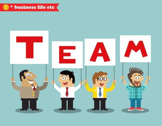 Kantoorpersoneel houdt teamteken