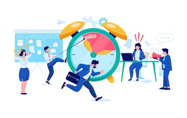 Kantoorpersoneel probeert een taak op deadline uit te voeren.