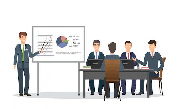 Kantoorpersoneel teamwerk op conferentie. mensen uit het bedrijfsleven bijeen in kantoor. zakenman die een presentatie van project geeft.