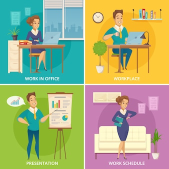 Kantoorpersoneel werkplek 4 retro pictogrammen vierkant met retro stripfiguren op kleurrijke achtergrond geïsoleerd