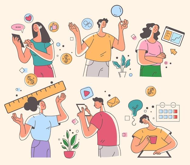 Kantoorpersoneel zakenmensen man vrouw tekens werken ontwikkeling nieuw project opstarten geïsoleerd op een witte achtergrond mensen abstract set vector platte cartoon grafische afbeelding