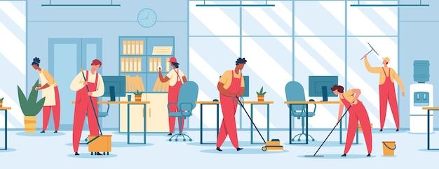 Kantoorreiniging team van professionele schoonmakers die de vloer dweilen stofzuigen vegen raam vector concept