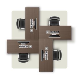 Kantoorruimte met verschillende rechthoekige tafels bureaus zwarte stoelen