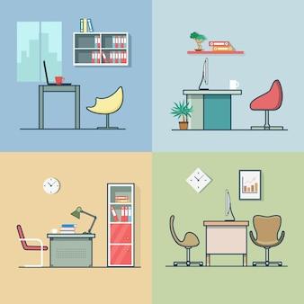 Kantoorruimte werkplek tafel stoel interieur binnen set. lineair veelkleurig lijnoverzicht plat