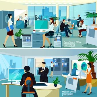 Kantoorsamenstellingen met werkende mensen