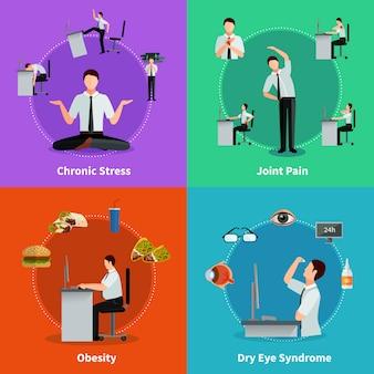 Kantoorsyndroom 2x2 vlakke conceptset van ziekten als resultaat van sedentair werk