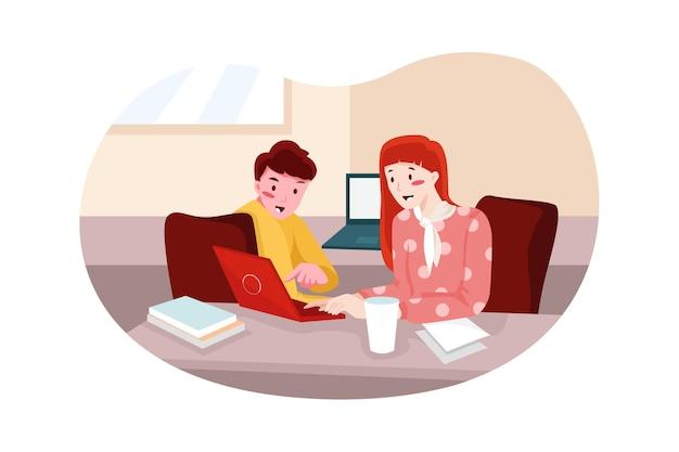 Kantoorvergadering illustratie