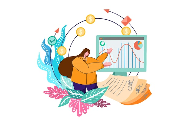 Kantoorvrouw die bedrijfspresentatie doet financiën webillustratie