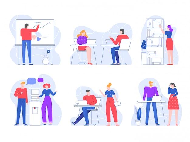 Kantoorwerkers. de mensenwerkruimten met laptop op lijst, de werknemers werken samen en waterkoeler spreken vlakke illustratiereeks. werkproces en zakelijke communicatiesituaties