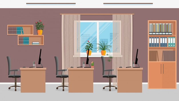 Kantoorwerkruimteontwerp met drie werkplekken en kantoormeubilair zoals tafels, laptops, fauteuils. werkkamer interieur