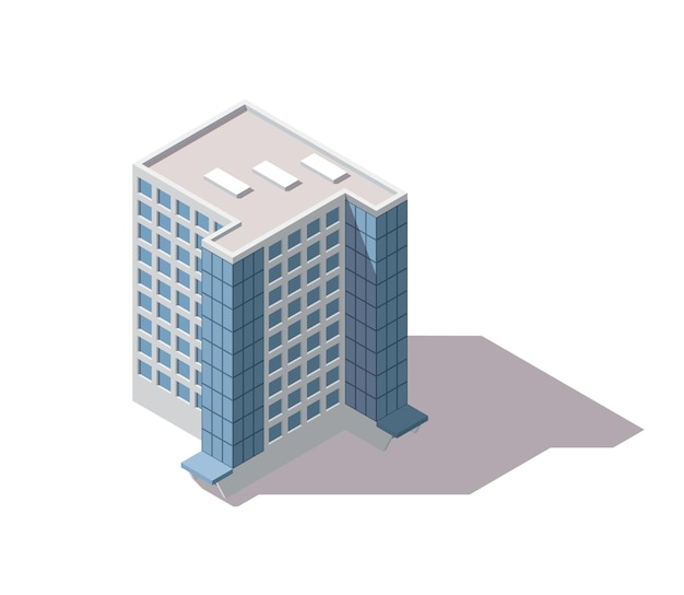 Kantoren isometrisch. architectuur gebouw gevel van zakencentrum.