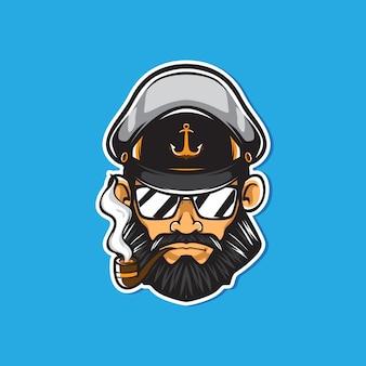 Kapitein met pijpmascotte