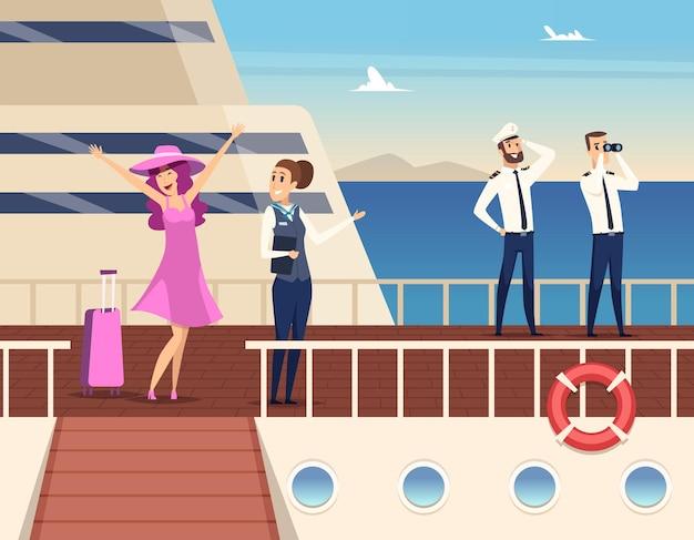 Kapitein op het zeeschip. matroos cruise team boot officier en stuart reizen concept achtergrond.